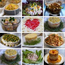 Collection of salads for a festive (solemn) table