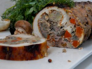 Chicken roll with liver with mushrooms and quince