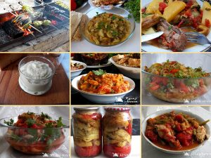 Collection of dishes from baked eggplant and peppers